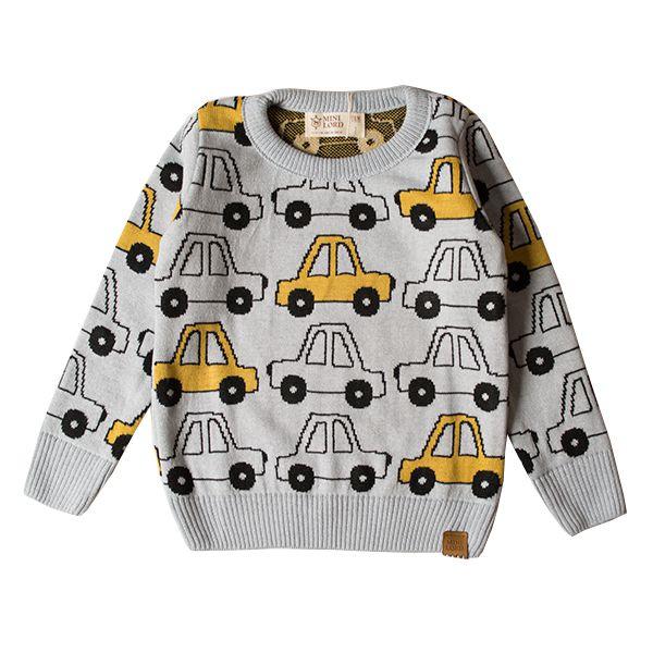 Casaco suéter infantil tricô masculino yellow car azul-claro