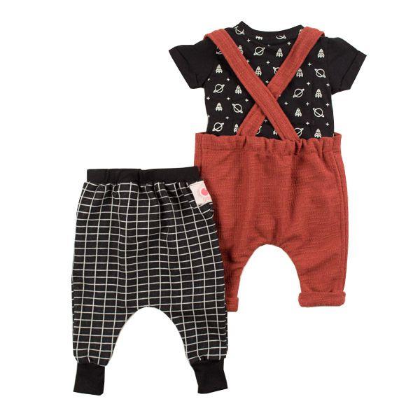 Conjunto suspensório infantil bebê saturno