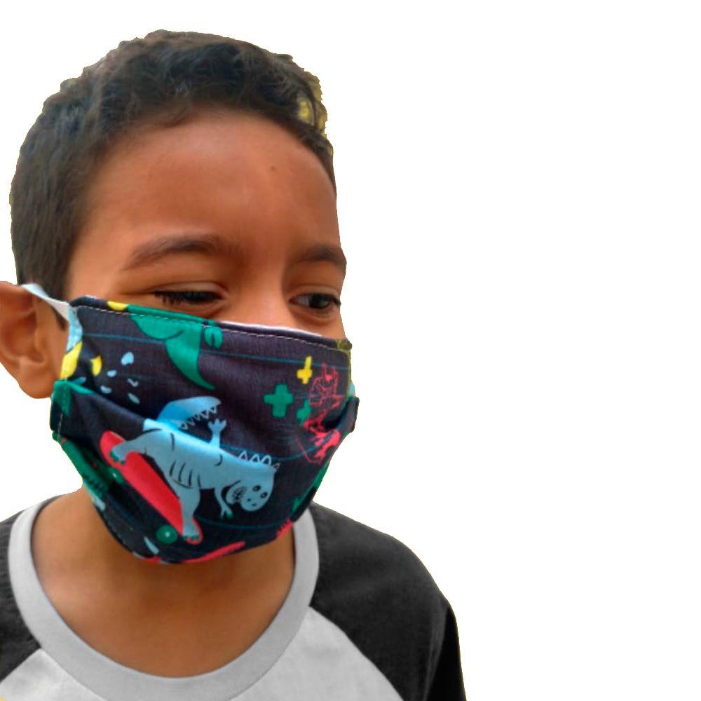Kit 2 máscaras proteção infantil tecido lavável reutilizável estampas dinossauros