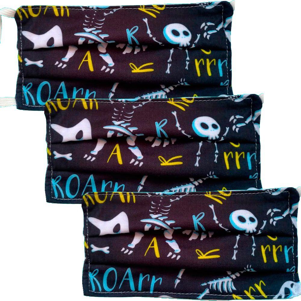 Kit 3 máscaras proteção infantil tecido lavável reutilizável estampa dinossauro P&B
