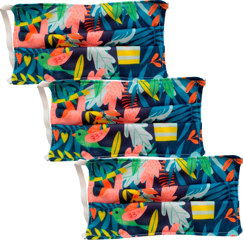 Kit 3 máscaras proteção infantil tecido lavável reutilizável estampa natureza