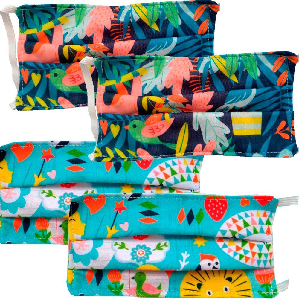 Kit 4 máscaras proteção infantil tecido lavável reutilizável estampa natureza e coruja