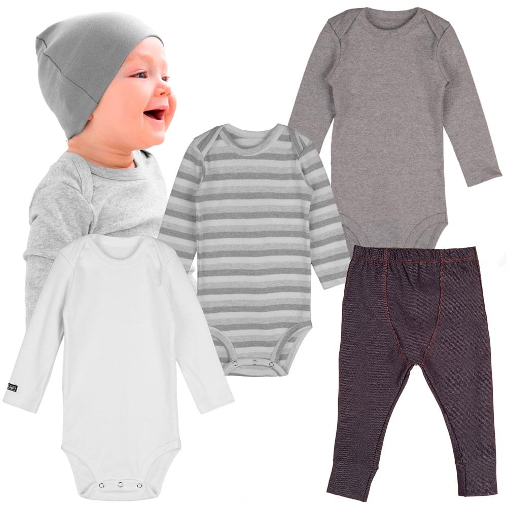 Kit body bebe manga longa e calça jeans infantil minimalista confort