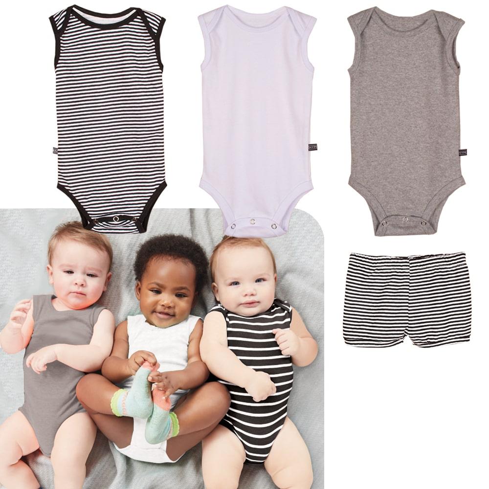 Kit body bebê regata algodão + short unissex conforto estilo