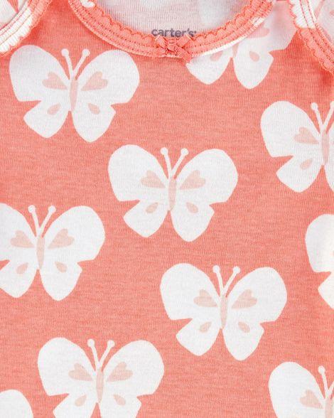 Kit body carter's menina manga curta 5 peças borboleta