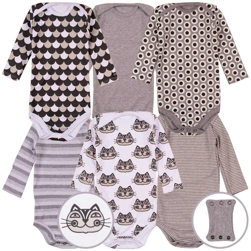 Kit body infantil bebe manga longa estampado gatos