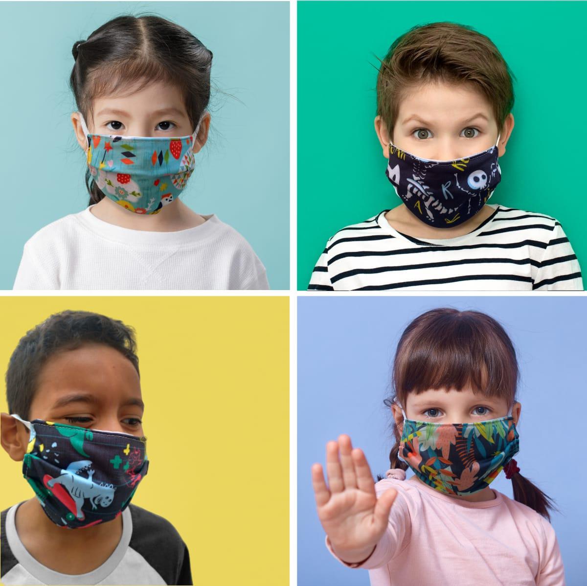 Kit 2 máscaras de proteção tecido infantil - 2 unidades