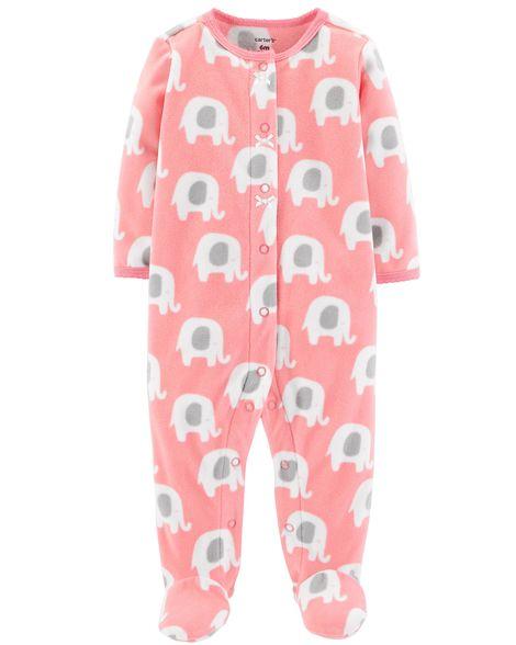 Macacão carter's fleece elefante rosa