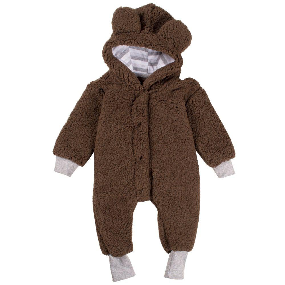 Macacão infantil de bebe ursinho bichinho com capuz marrom
