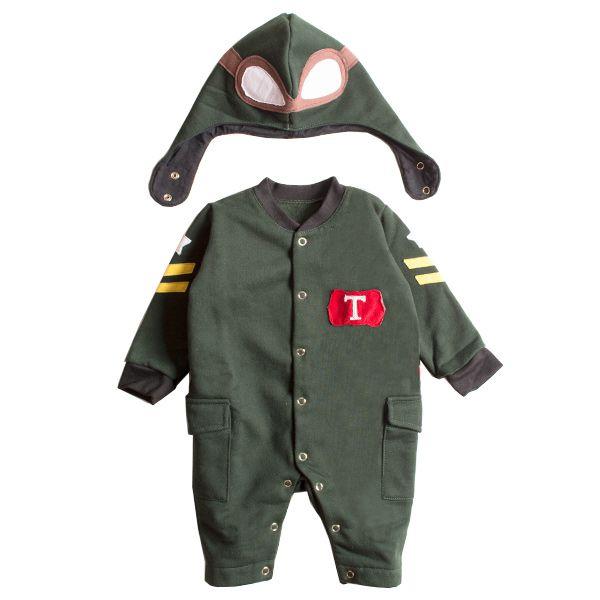 Macacão bebê piloto aviador com capuz