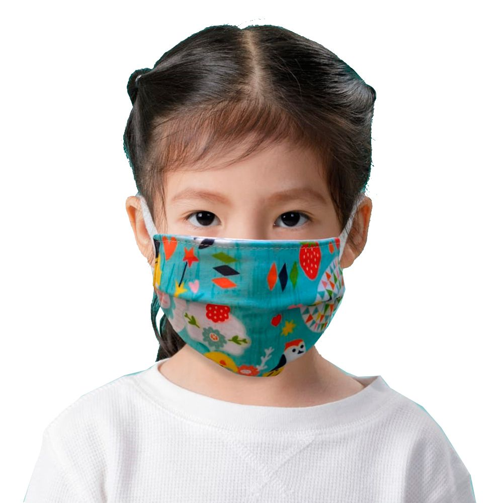 kit 2 máscaras proteção infantil tecido lavável reutilizável estampa coruja