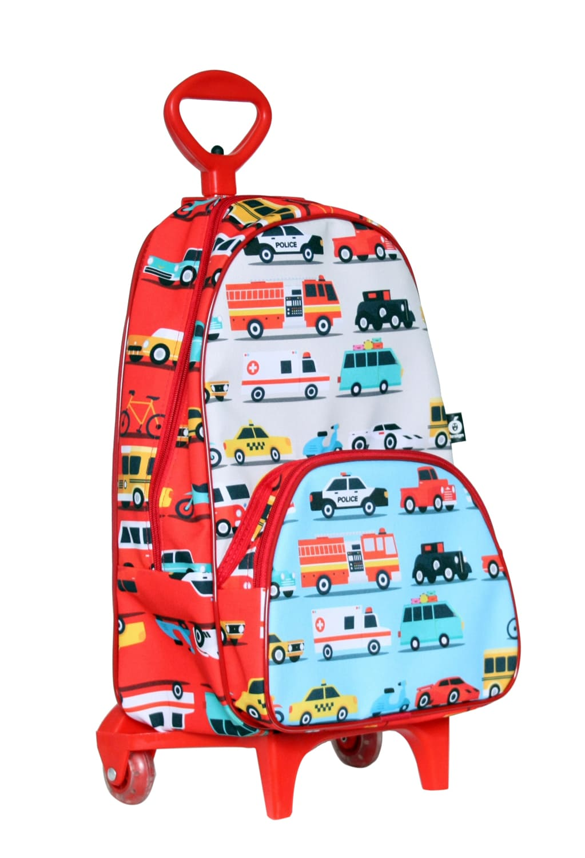 Mochila infantil carros com rodinhas
