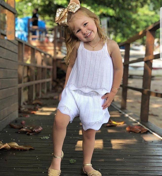 Short infantil feminino tricô magnólia branco Mini Lady