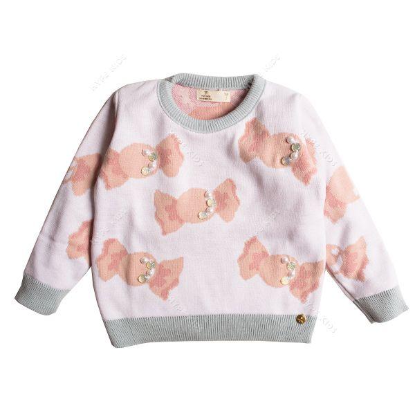 Casaco suéter infantil tricô feminino balinhas