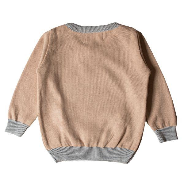 Casaco suéter infantil tricô feminino bear pink and blue