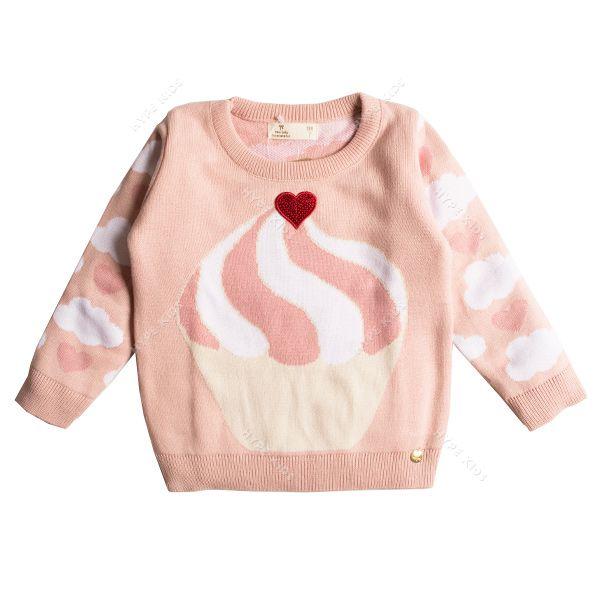 Casaco suéter infantil tricô feminino cupcake