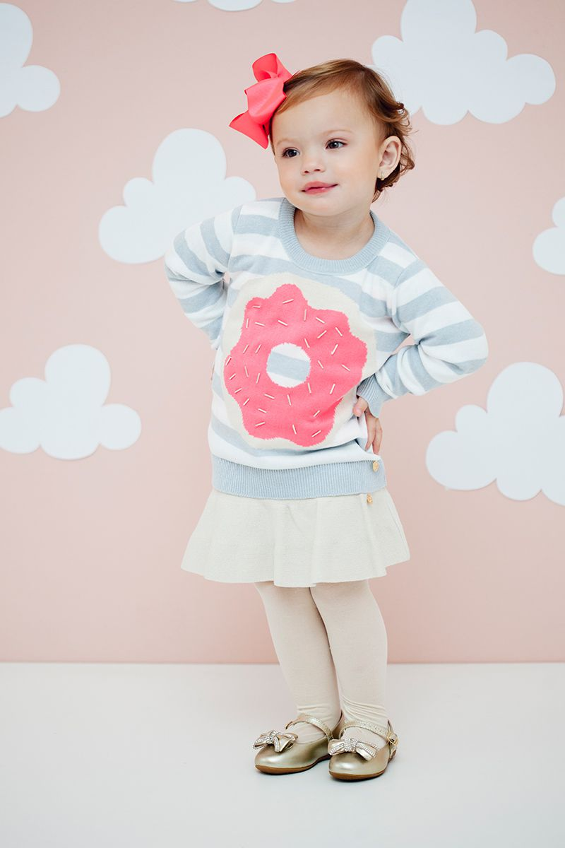 Casaco suéter infantil tricô feminino donut