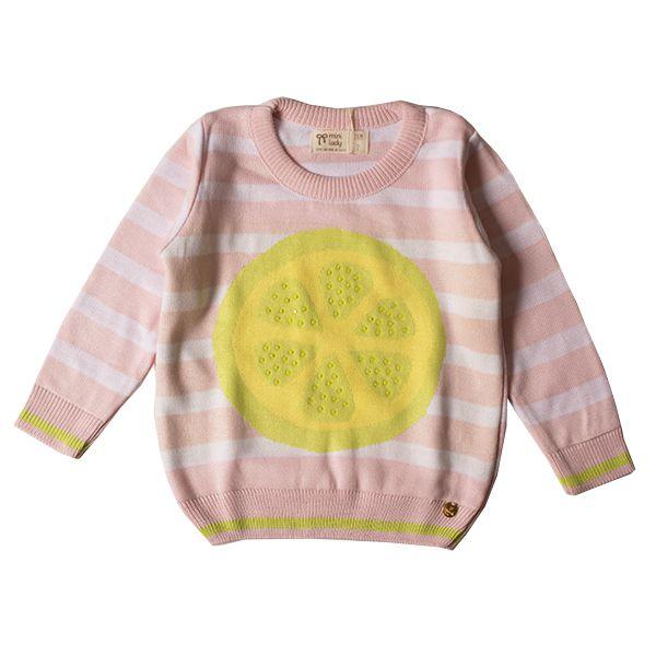 Casaco suéter infantil tricô feminino lemon pink