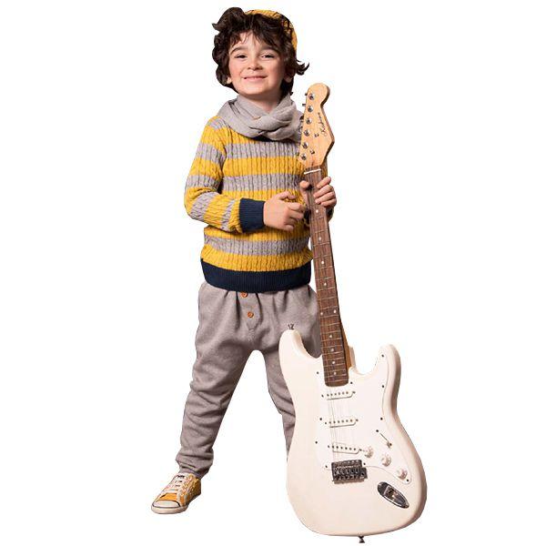 Casaco suéter infantil tricô masculino listras mostarda e cinza