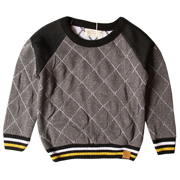 Casaco suéter infantil tricô masculino sport cinza-mescla