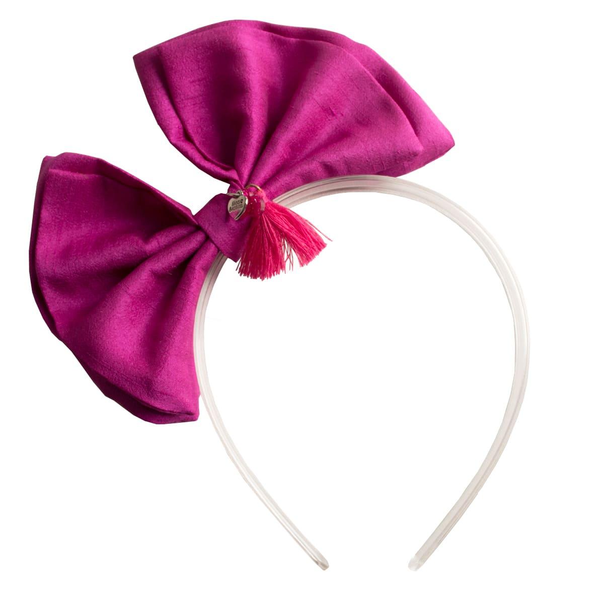 Tiara infantil laço rosa acrílico
