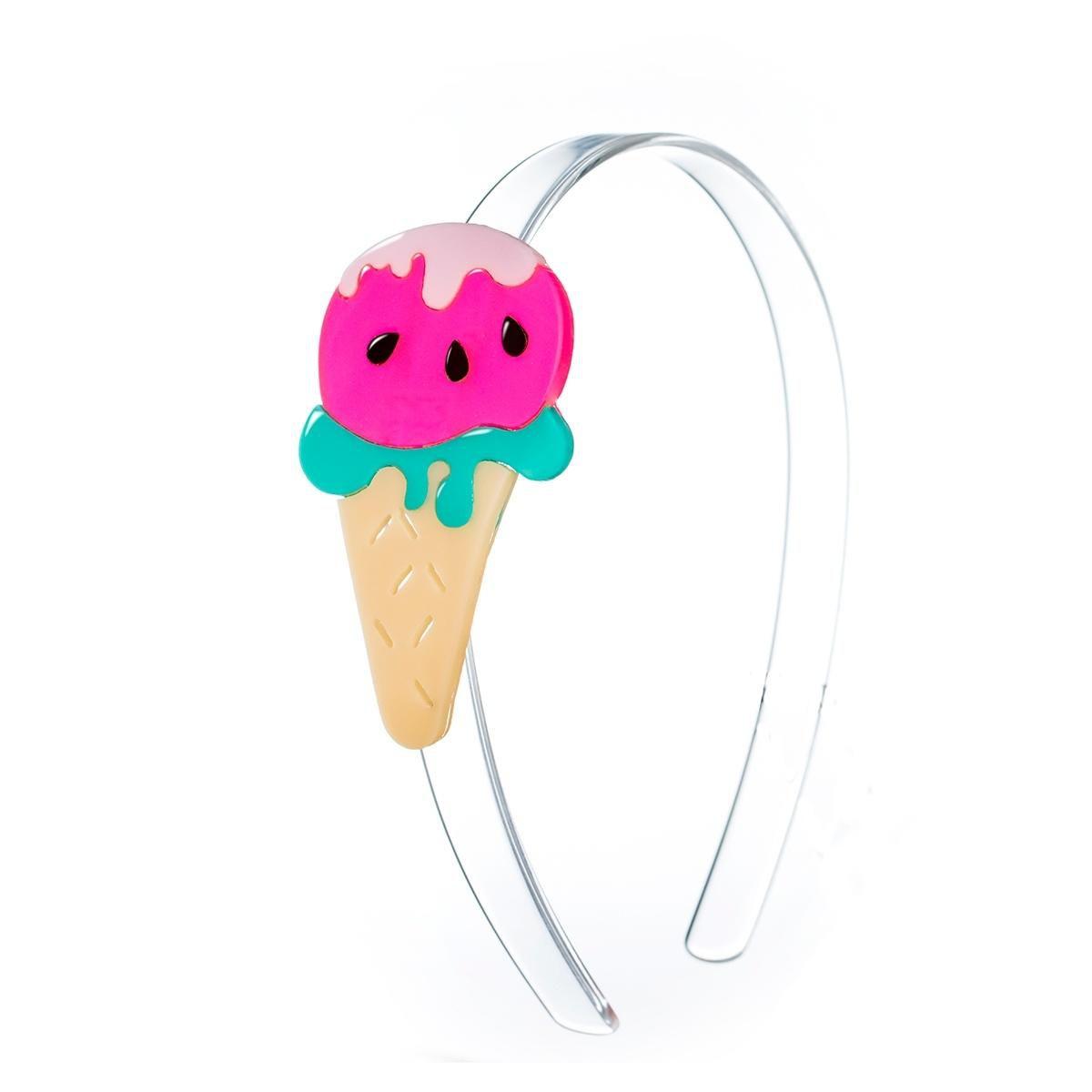 Tiara infantil para cabelo sorvete melancia acrílico