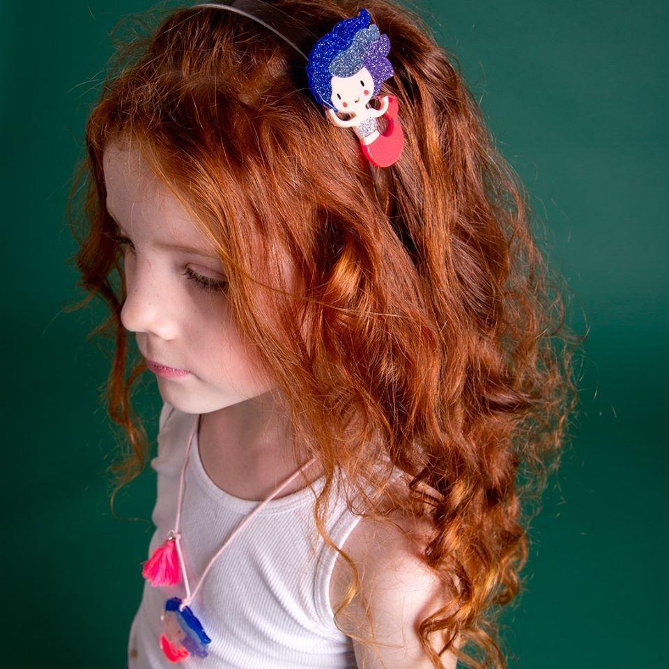 Tiara infantil sereia blue acrilico