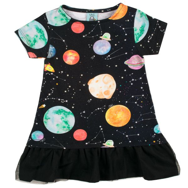 Vestido infantil galáxia tule wool kids