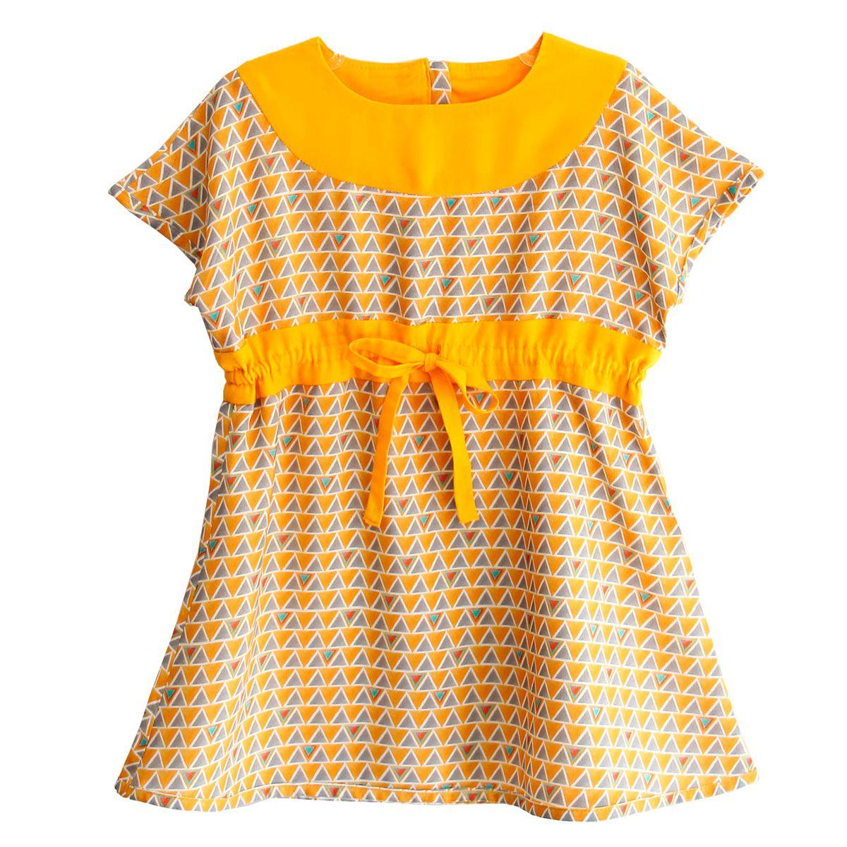 Vestido infantil geométrico amarelo