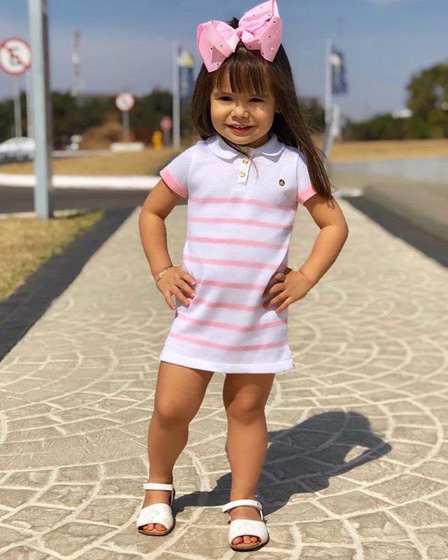 Vestido infantil polo tricô margarida rosa Mini Lady