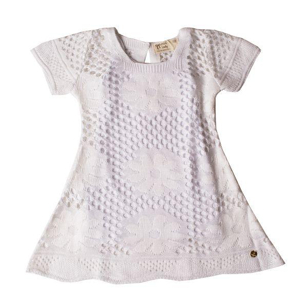 Vestido infantil tricô branco hibisco Mini Lady