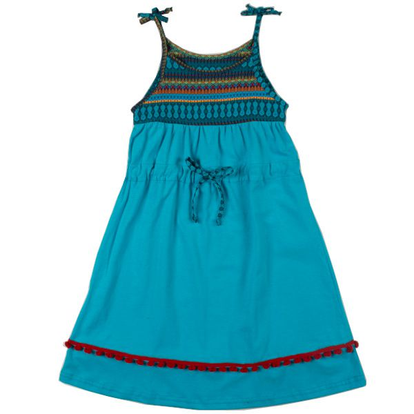 Vestido menina-flor turquesa