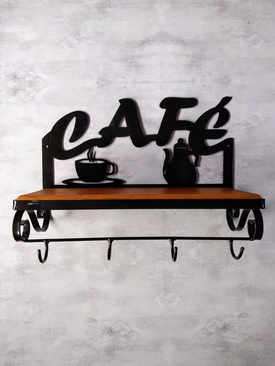 Image of: Prateleira Madeira E Ferro Cafe Com Ganchos Artesanato Segredo De Minas Um Pedacinho De Minas Para Sua Casa
