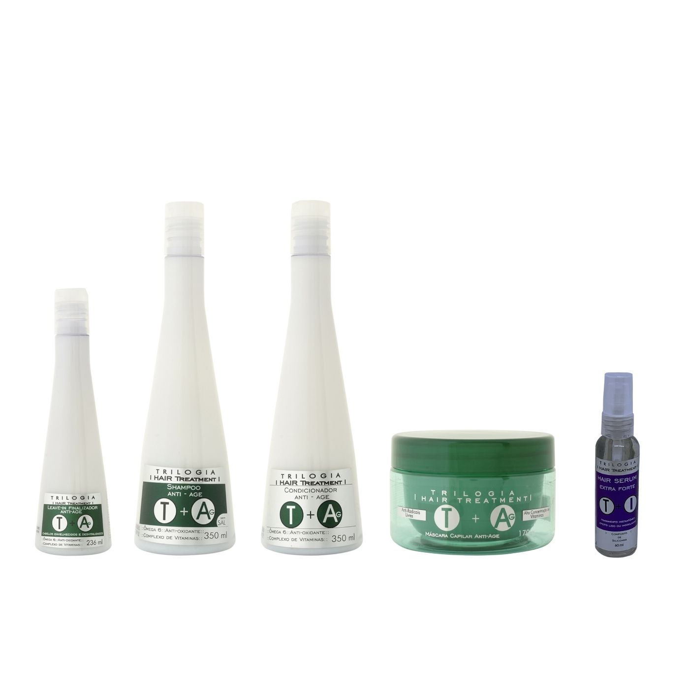 Kit Anti Envelhecimento Trilogia (sh, Cond, Masc, Leave In, Serum)