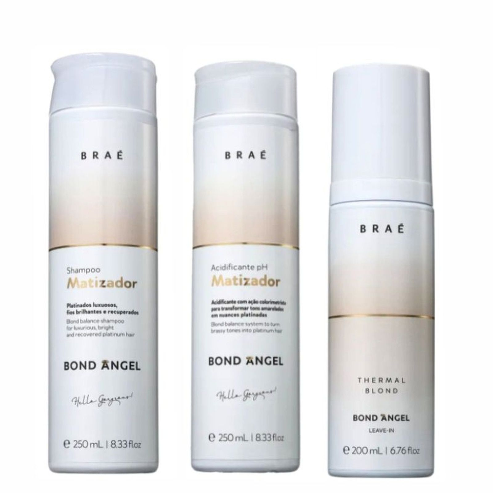 Shampoo Matizador, Ph Acidificante, Leave-in-Braé Bond Angel
