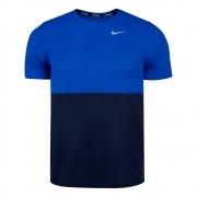 Camiseta Nike Breathe Masculina Azul e Preto