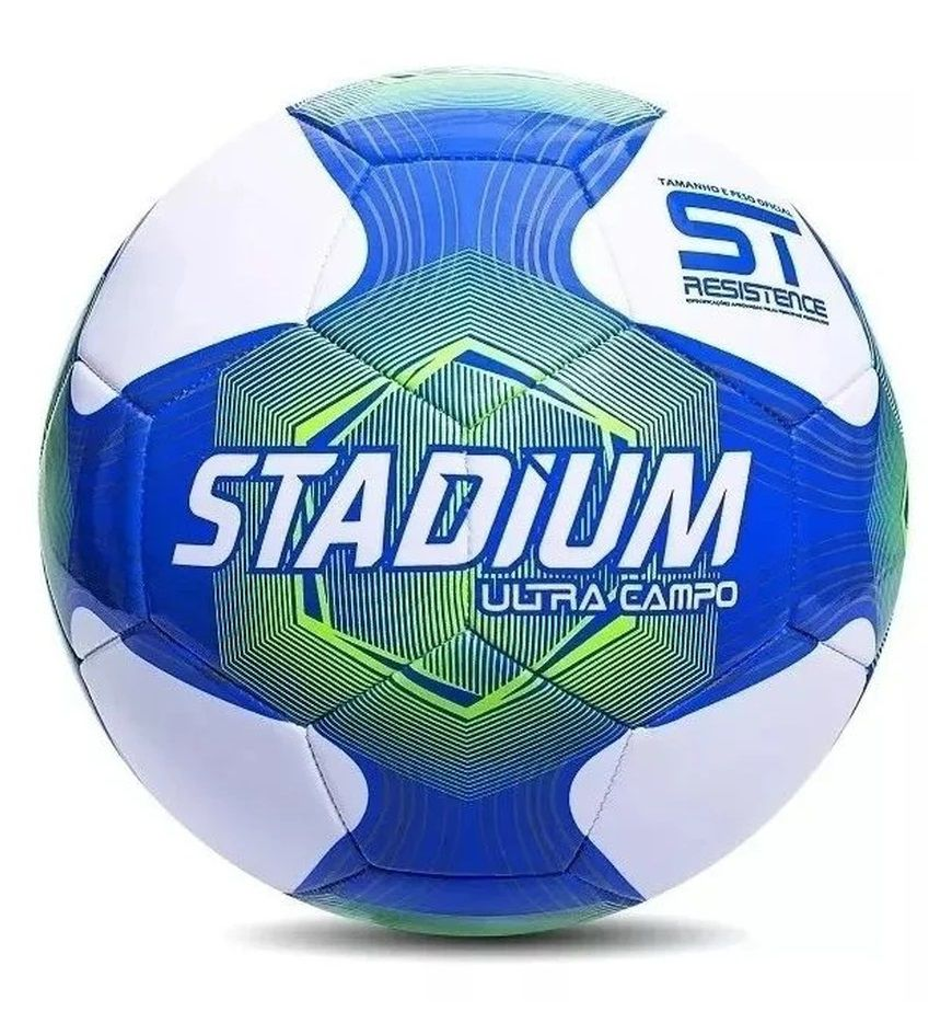 Bola Campo Stadium Ultra Campo IX Com Costura Branco e Azul