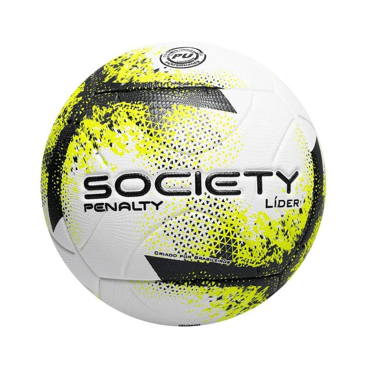 Bola de Futebol Society Penalty Líder XXI Branco e Amarelo