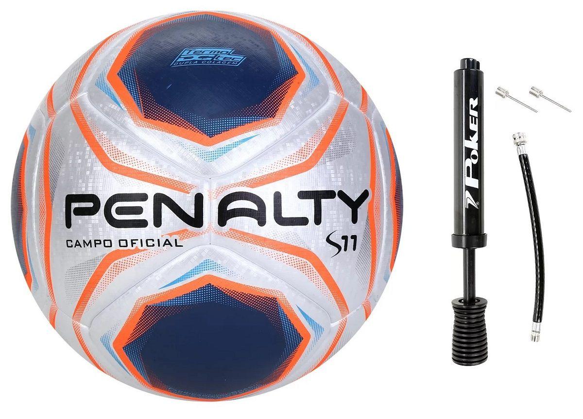 Bola Penalty Futebol de Campo S11 R1 com Bomba de Inflar Poker - Kit