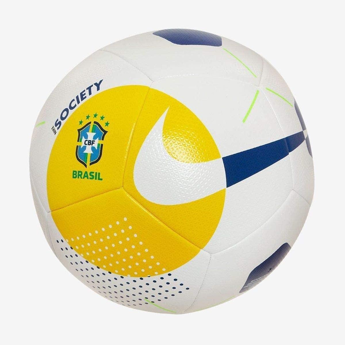Bola Society Nike Brasil CBF Branco e Amarelo