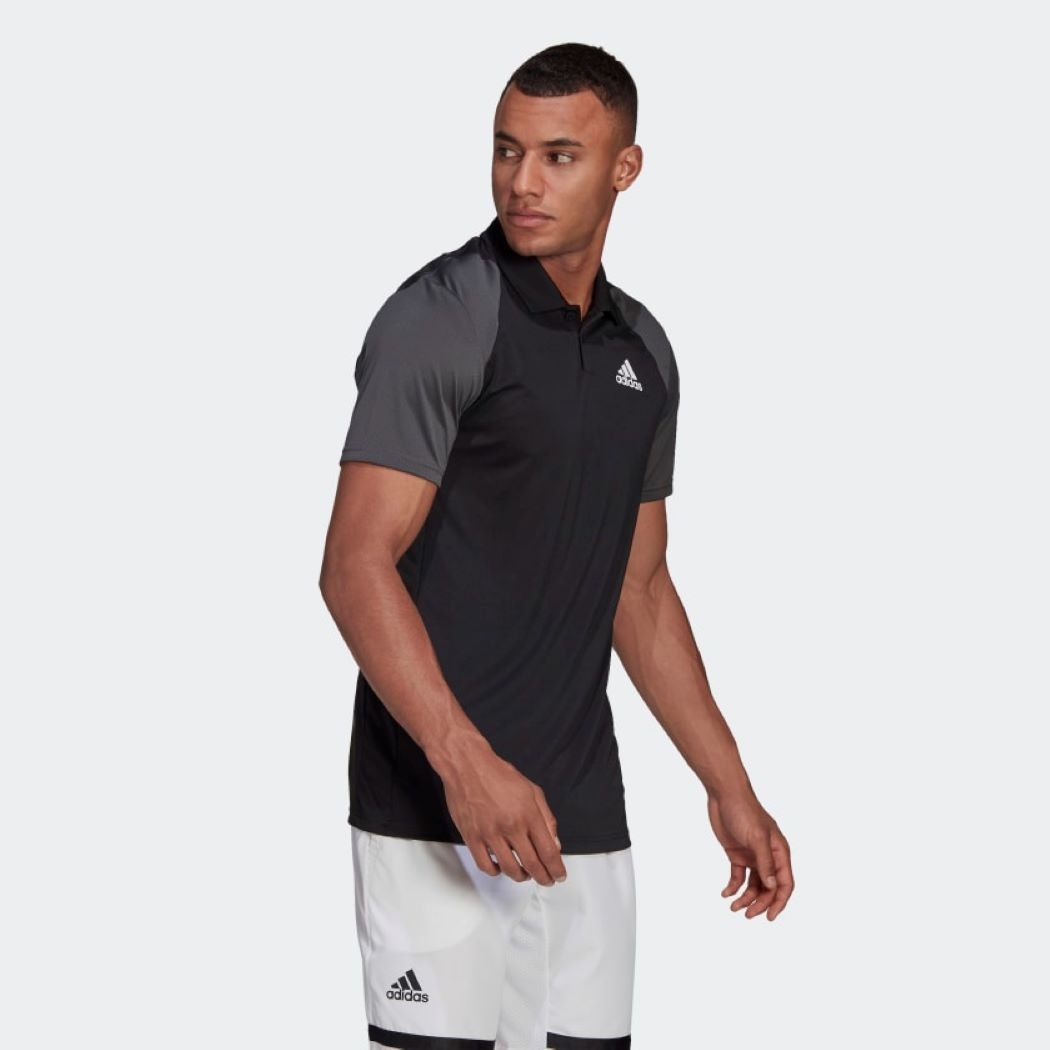 Camisa Polo Adidas  Club Masculina Preto e Cinza