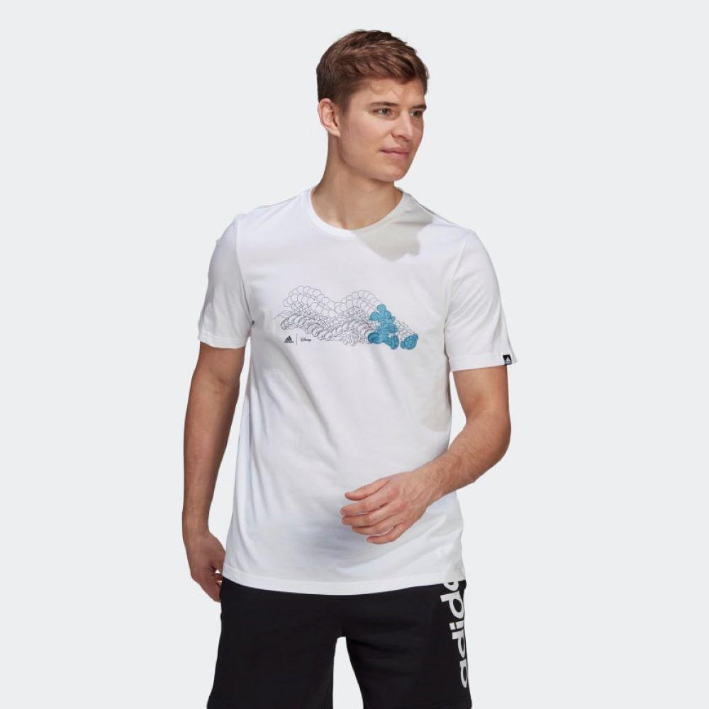 Camiseta Adidas Disney Futebol Masculina Branco e Azul