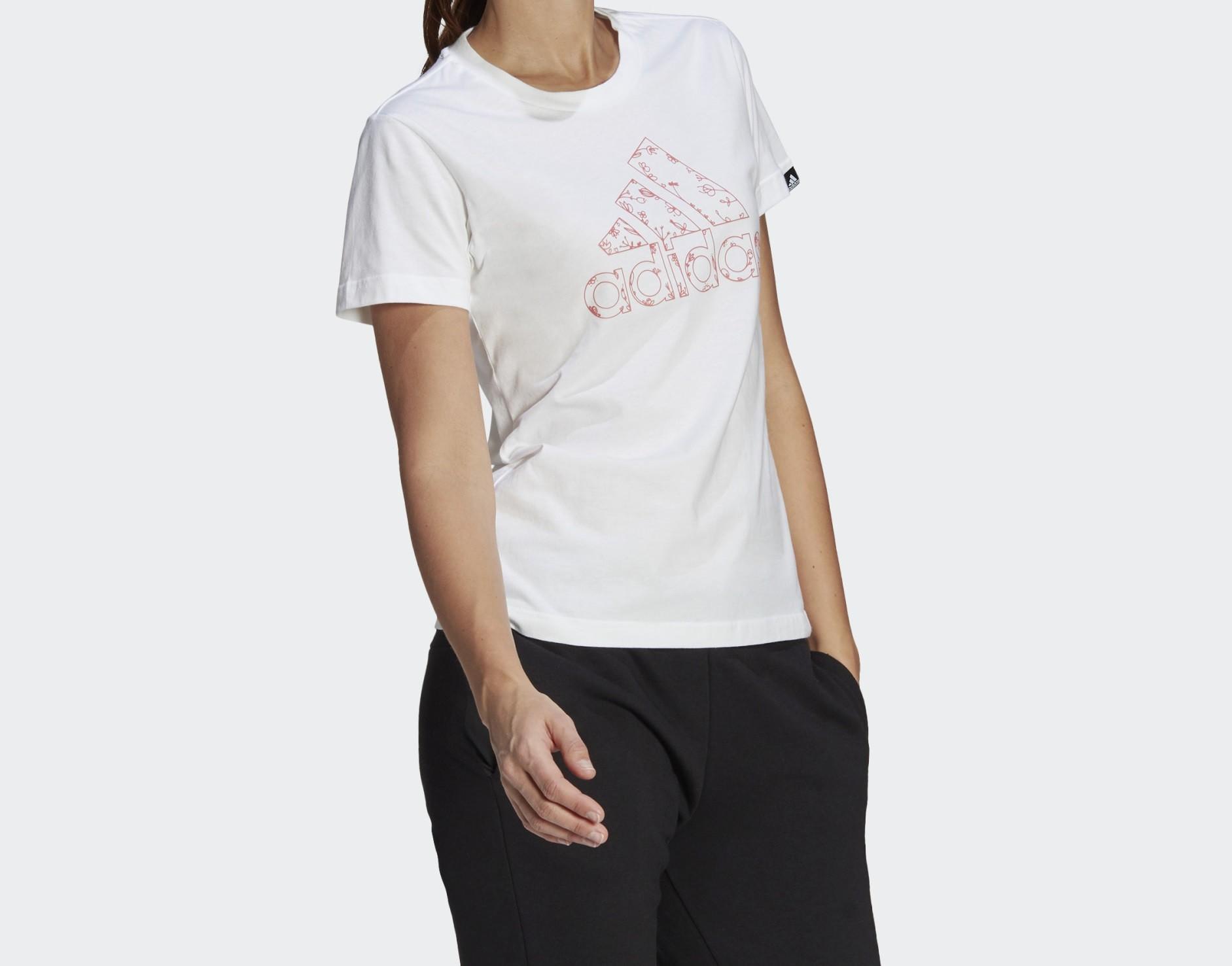Camiseta Adidas Outline Floral Feminina Branco e Rosa