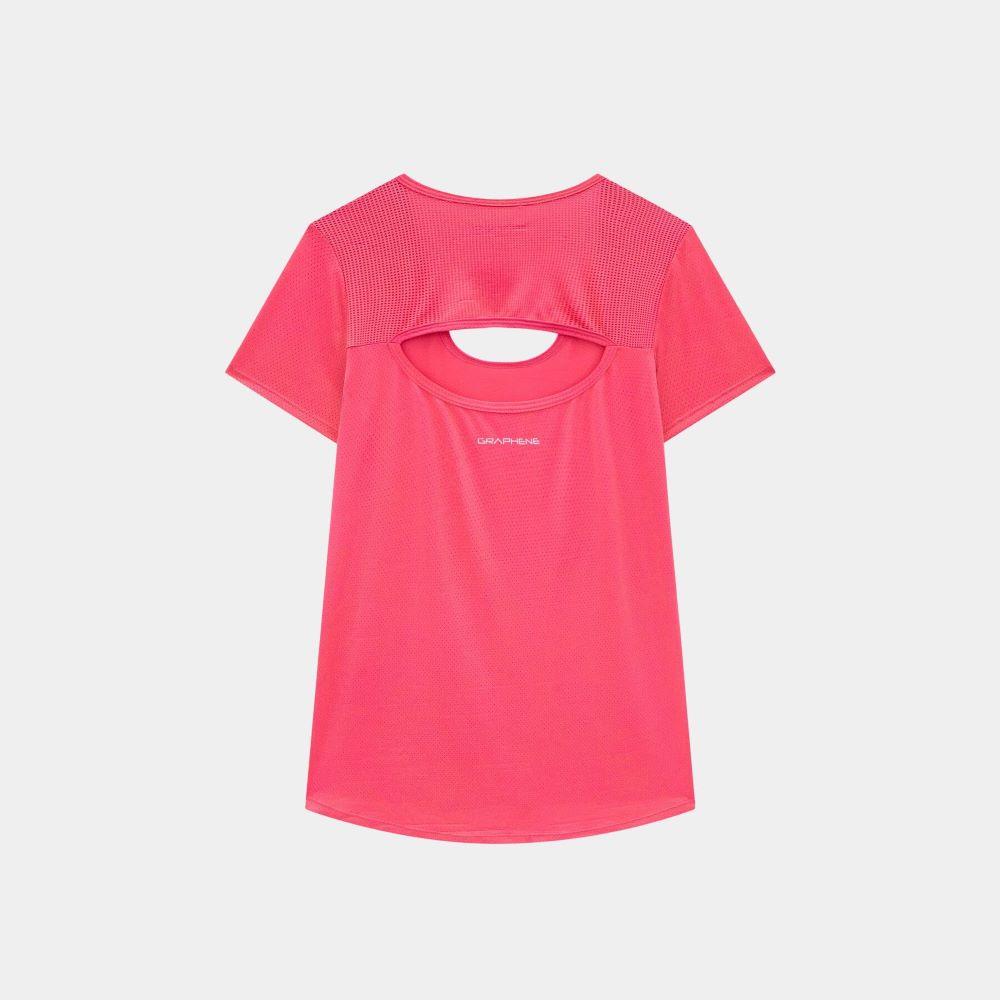Camiseta Graphene Recortes Textura Feminina Rosa