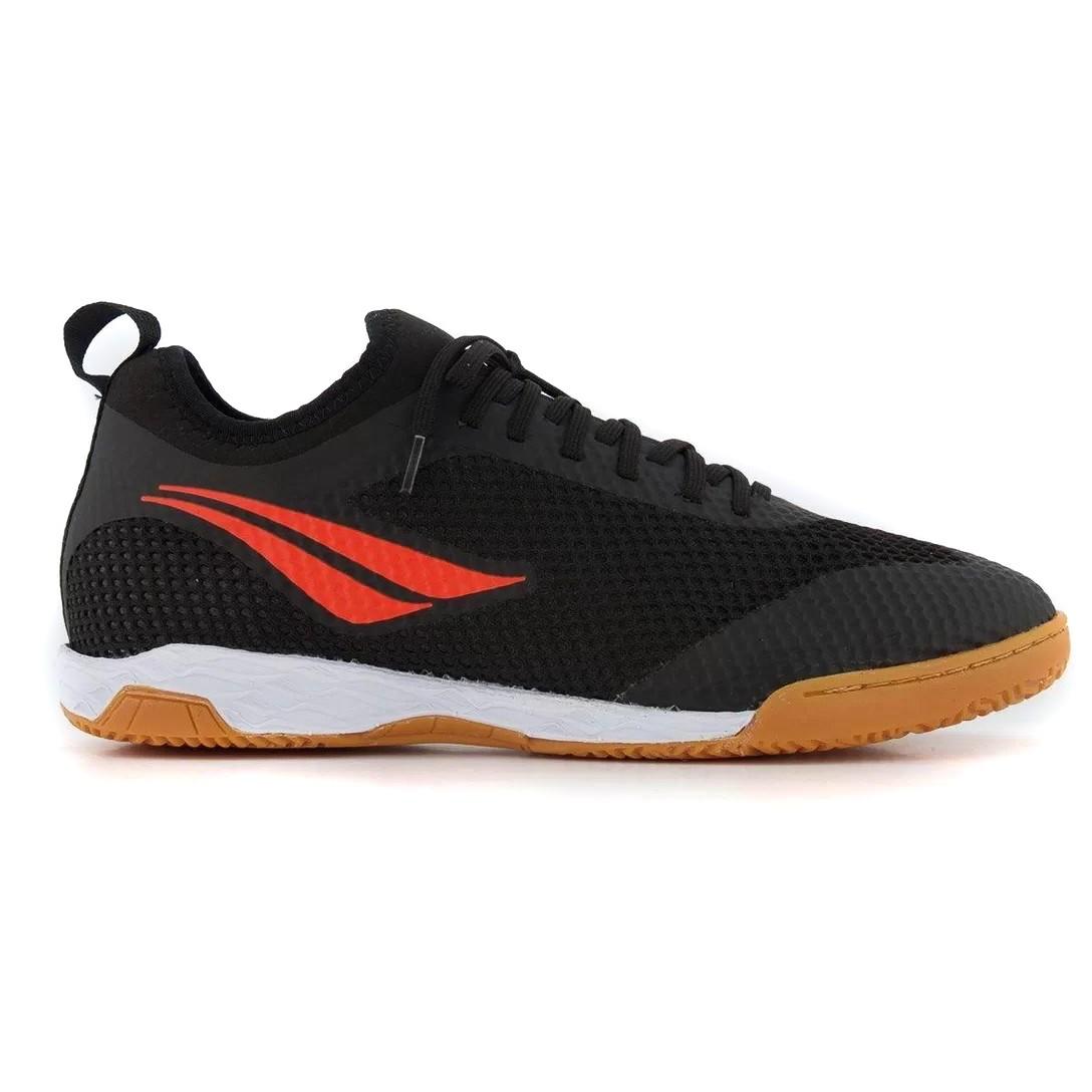 Chuteira Futsal Penalty Max 500 IX Locker Preto e Laranja