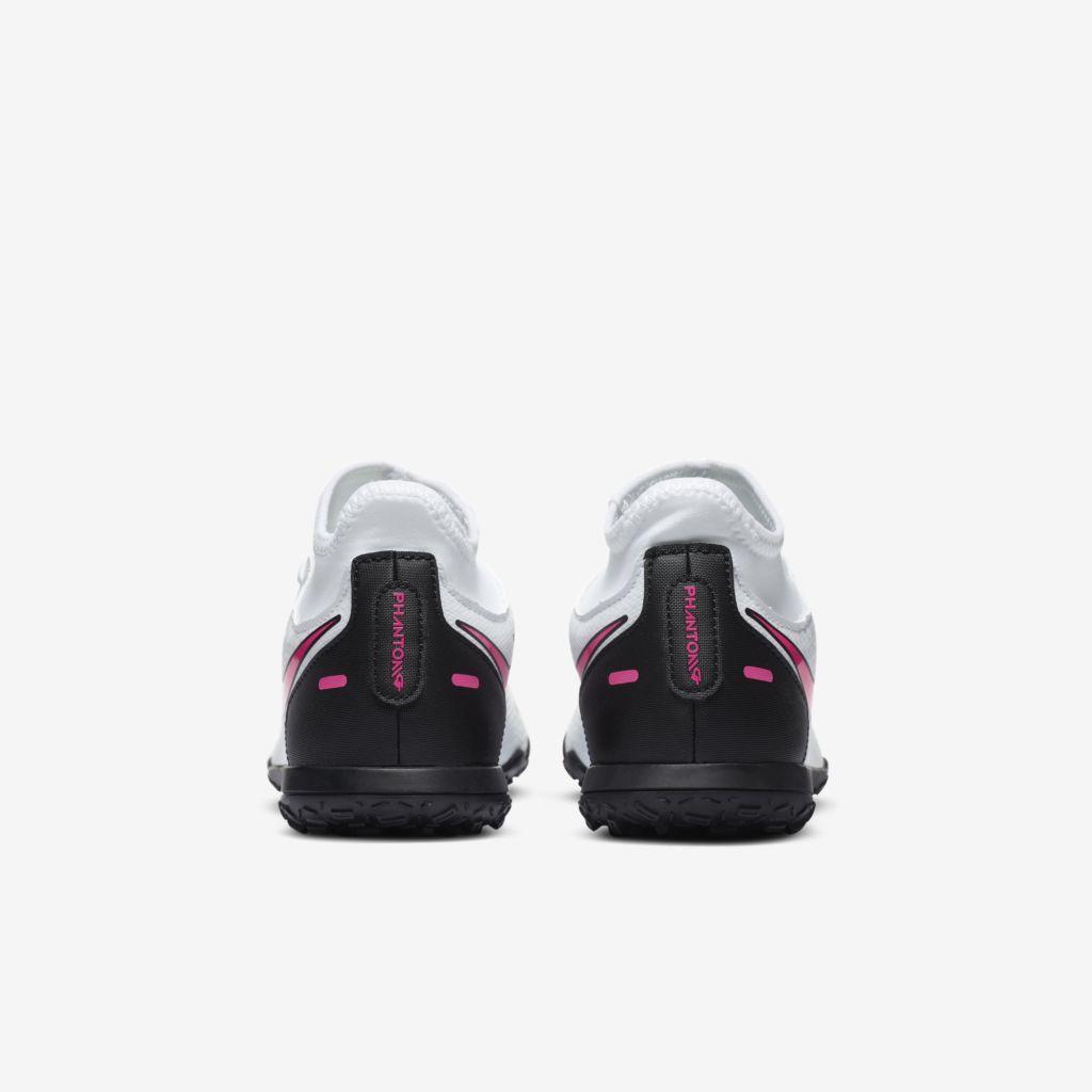 Chuteira Nike Infantil Phantom GT Club Branco, Preto e Rosa