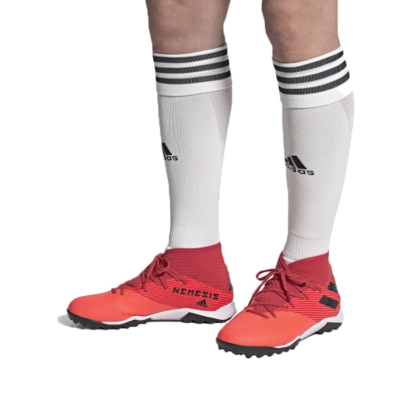 Chuteira Society Adidas Nemeziz 19.3 TF Laranja e Vermelho