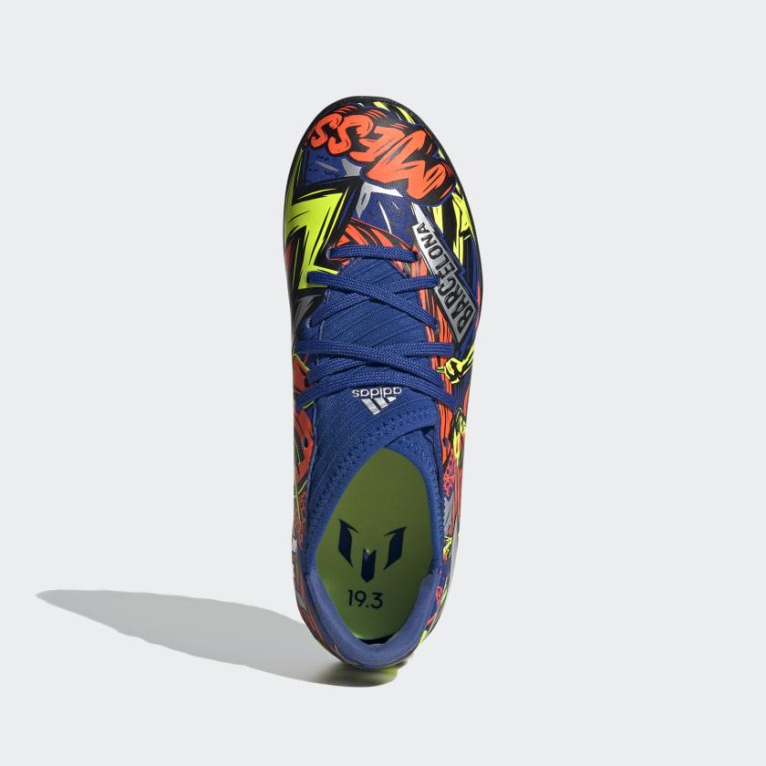 Chuteira Society Adidas Nemeziz Messi 19.3 Infantil Azul, Laranja e Amarelo Neon