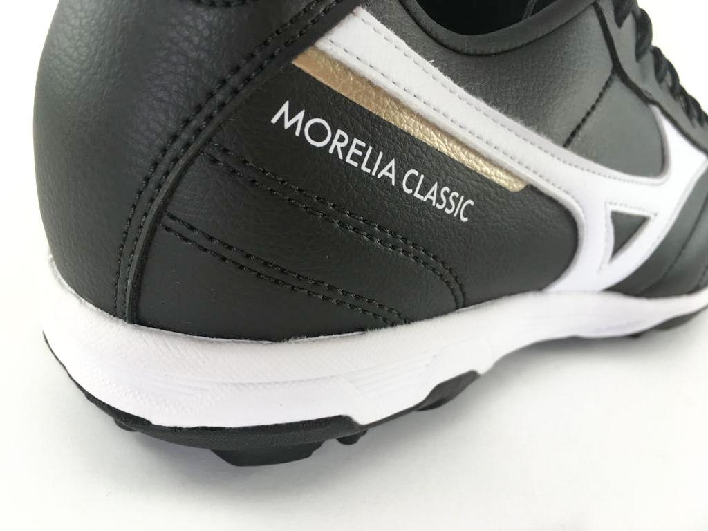 Chuteira Society Mizuno Morelia Classic AS Preto/Branco/Dourado