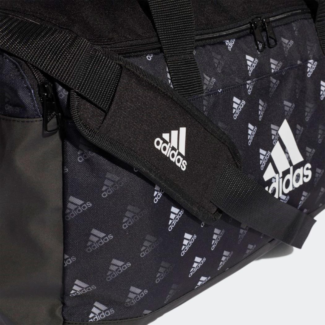 Mala Adidas Duffel Estampada Linear Preto e Branco